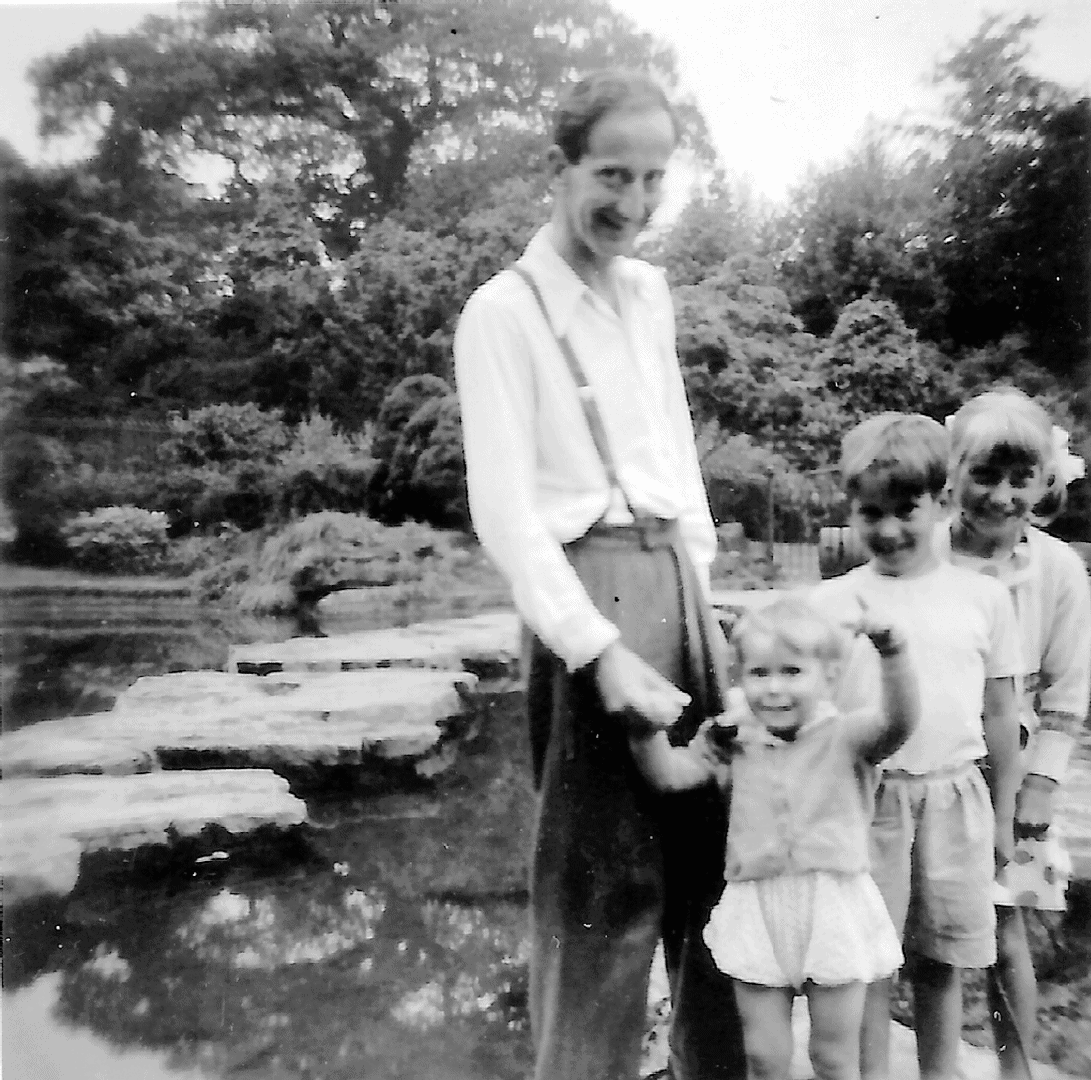 Wes with Roy, Clifford and Mary at Highfields stepping stones -circa 1959.